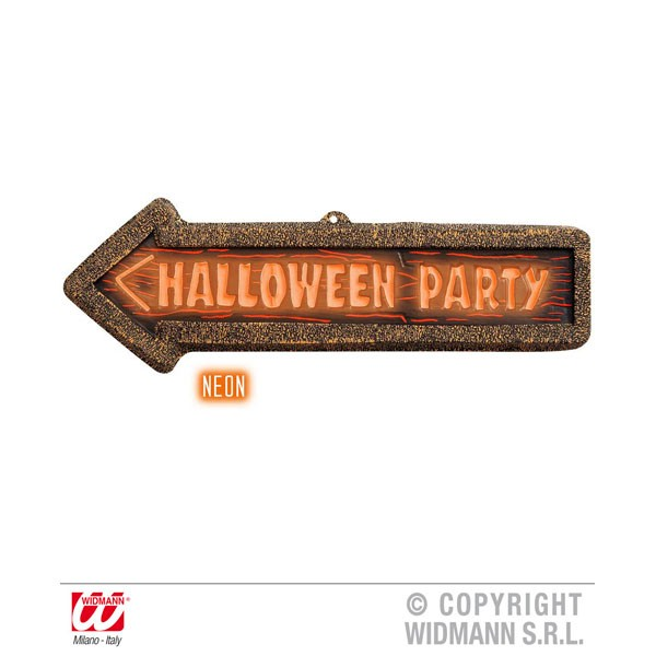 3D Neon Halloween Party Pijl 56x17cm