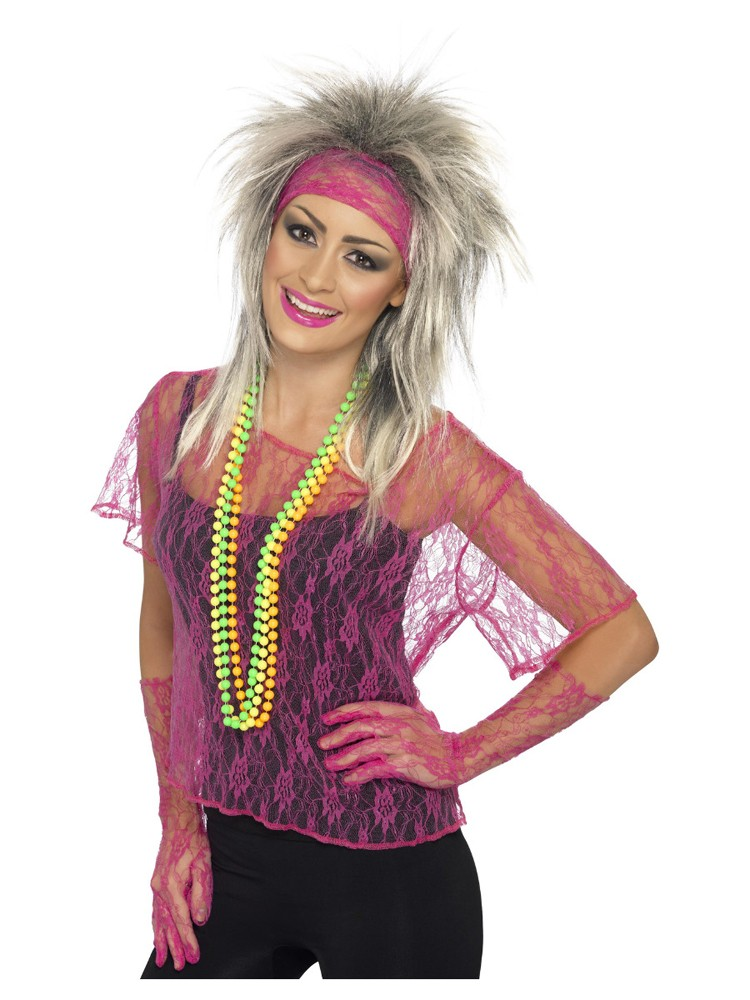 80's Set Top en Haarband neon pink