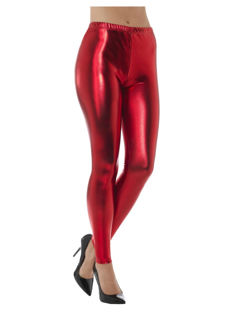 Thema's - 80's Disco Legging Metallic rood